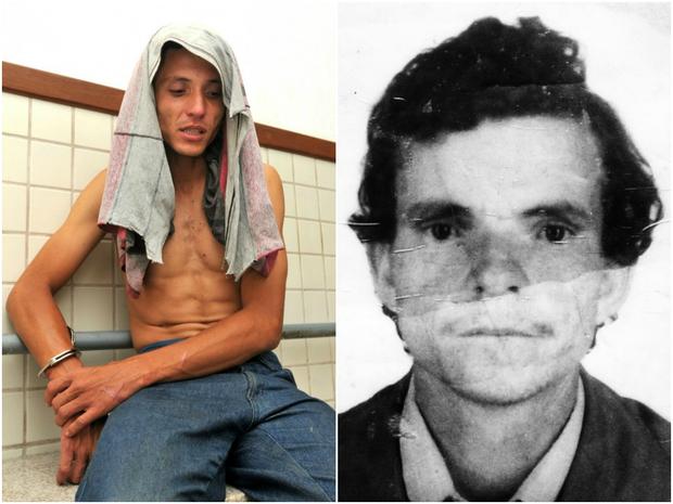 Filho (à esquerda) matou o pai (à direita) com a corrente de um cachorro, no ES (Foto: Fernando Madeira/ A Gazeta)