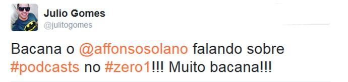 Internauta comenta a presença de Affonso Solano no Zero1 (Foto: TV Globo)