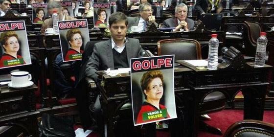 Protesto contra impeachment de Dilma no parlamento argentino (Foto: Reprodução)