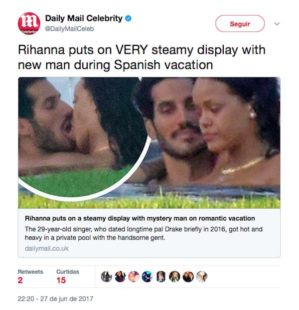 A mensagem do jornal Daily Mail divulgando o novo romance de Rihanna (Foto: Twitter)