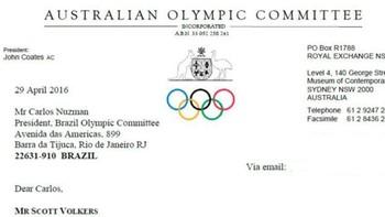Scott Volkers técnico natação Minas - documento comitê australiano (Foto: Reprodução)