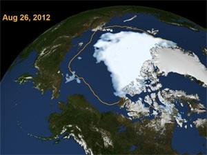 Mapa mostra encolhimento do gelo no Oceano Ártico desde 1979 (Foto: Nasa/Divulgação)