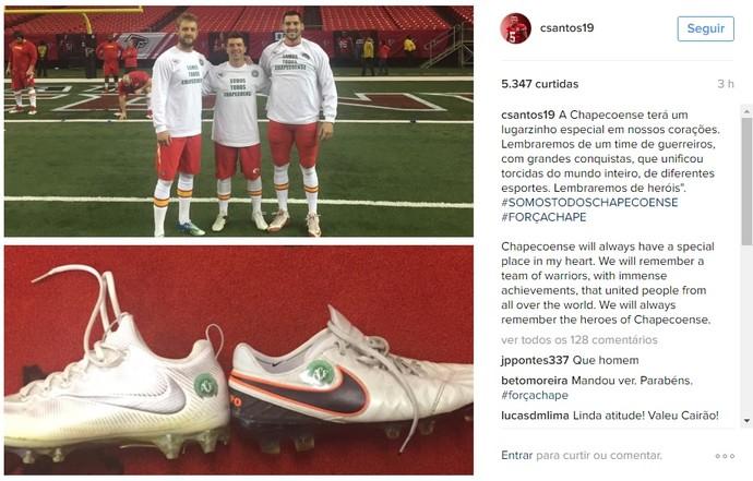 Cairo Santos, do Kansas City Chiefs, postou mensagem no Instagram em homenagem à Chapecoense (Foto: Reprodução/Instagram)