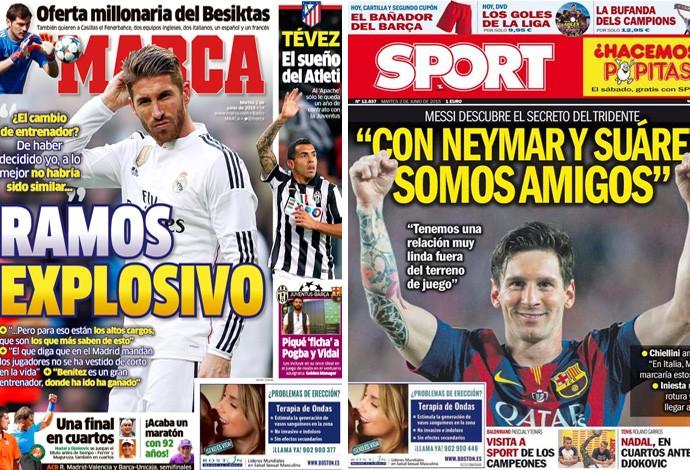 Montagem capas jornais espanhóis