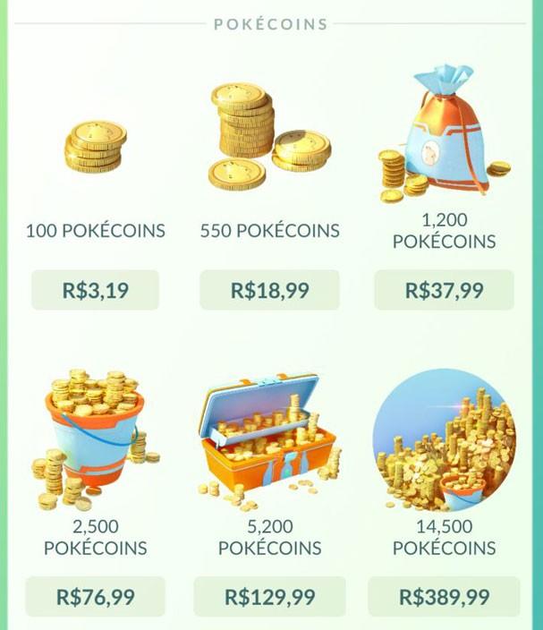Valores cobrados por pokécoins no Brasil (Foto: Reprodução)