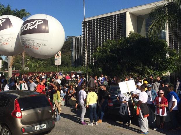 Alesp tem protesto em dia de votação do Plano Estadual de Educação (Foto: Roney Domingos/G1)