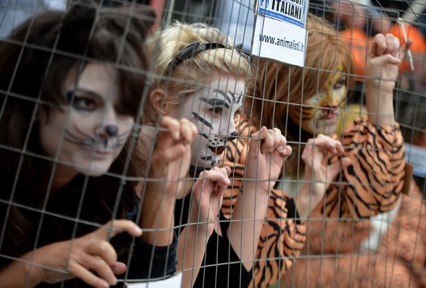 Ativistas fantasiam-se de animais em protesto contra zoológico em Roma, na Itália (Foto: Filippo Monteforte/AFP)