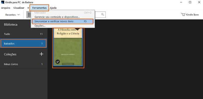 Encontre o livro na categoria de baixados do Kindle para PC (Foto: Reprodução/Barbara Mannara)