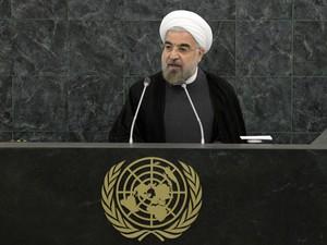 O presidente do Irã, Hassan Rohani, discursa nesta quinta-feira (26) na ONU (Foto: AFP)