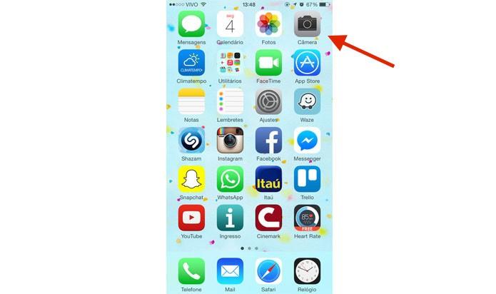 Abra o app da câmera no iPhone (Reprodução/ Gabriella Fiszman)