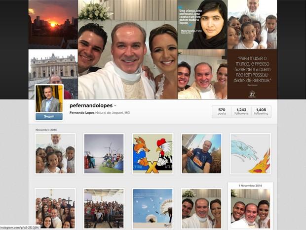 Página do Instagram do padre Fernando Lopes (Foto: Padre Fernando Lopes/Arquivo pessoal)
