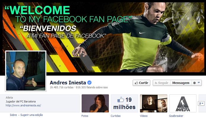 Andres Iniesta do Barcelona tem 19,334,986 de fãs no Facebook (Foto: Reprodução/Facebook)