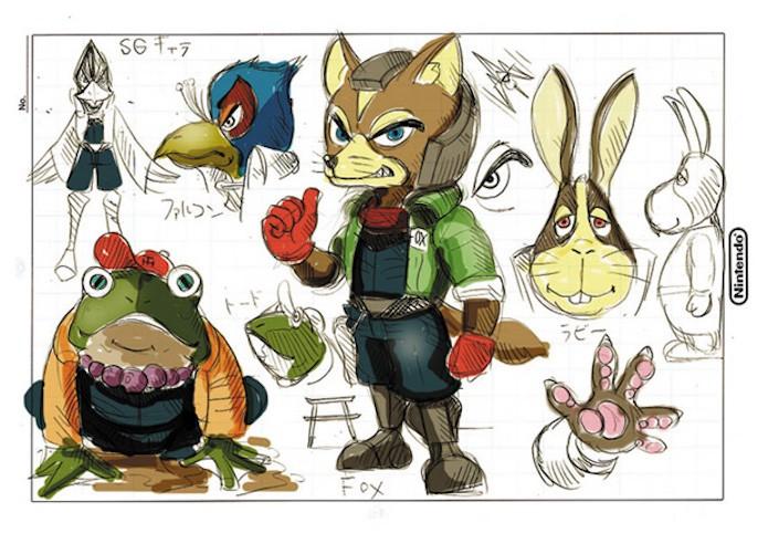 Artes conceituais originais dos personagens de Star Fox (Foto: Reprodução/Nintendo)