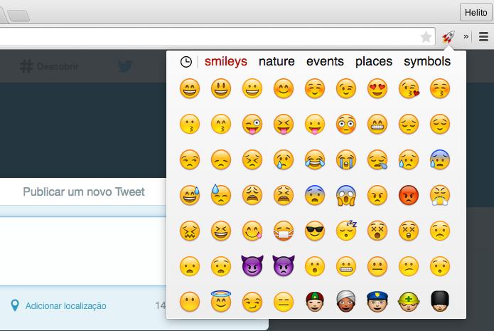 Usando emojis no Chrome (Foto: Reprodução/Helito Bijora)