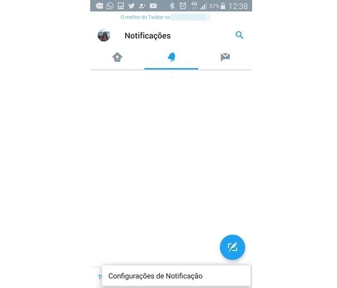 Entrando nas configurações de notificação do Twitter