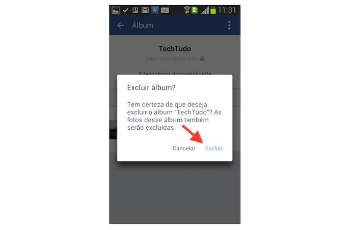 Confirmando a exclusão de um álbum de fotos do Facebook através de um dispositivo Android (Foto: Reprodução/Marvin Costa)