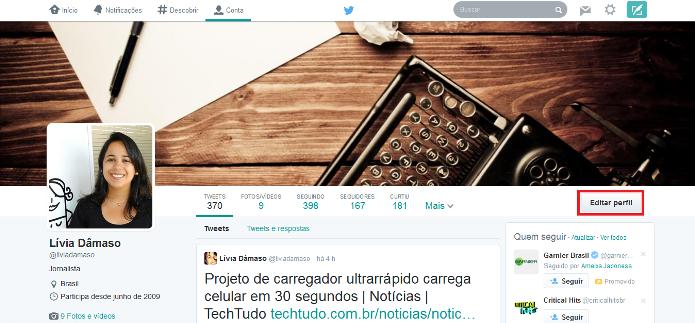 Editando o novo perfil do Twitter (Foto: Reprodução/Lívia Dâmaso)
