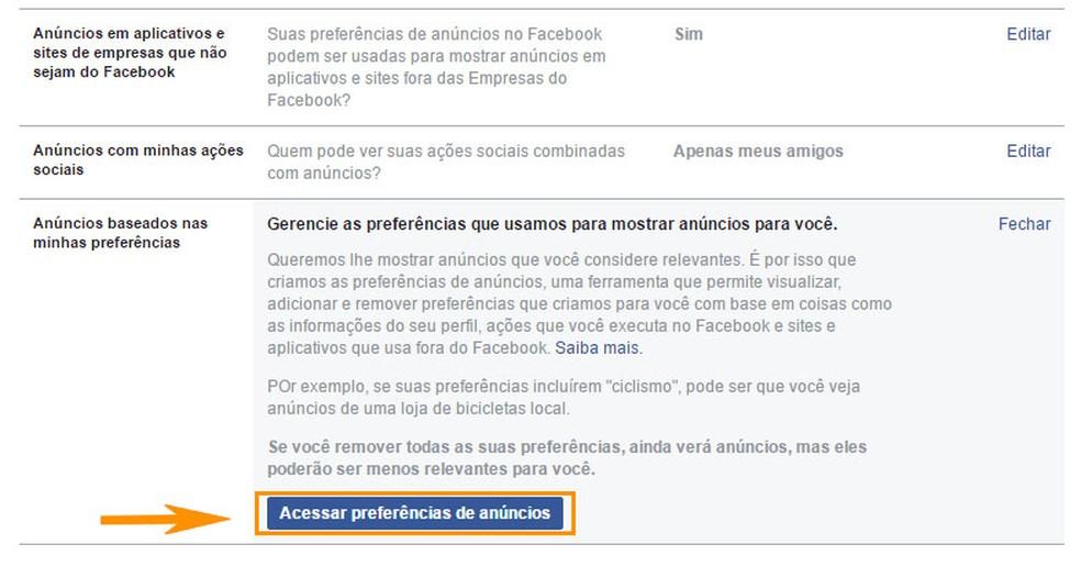Acesse as preferências de anúncios do seu perfil do Facebook (Foto: Foto: Reprodução/Barbara Mannara)