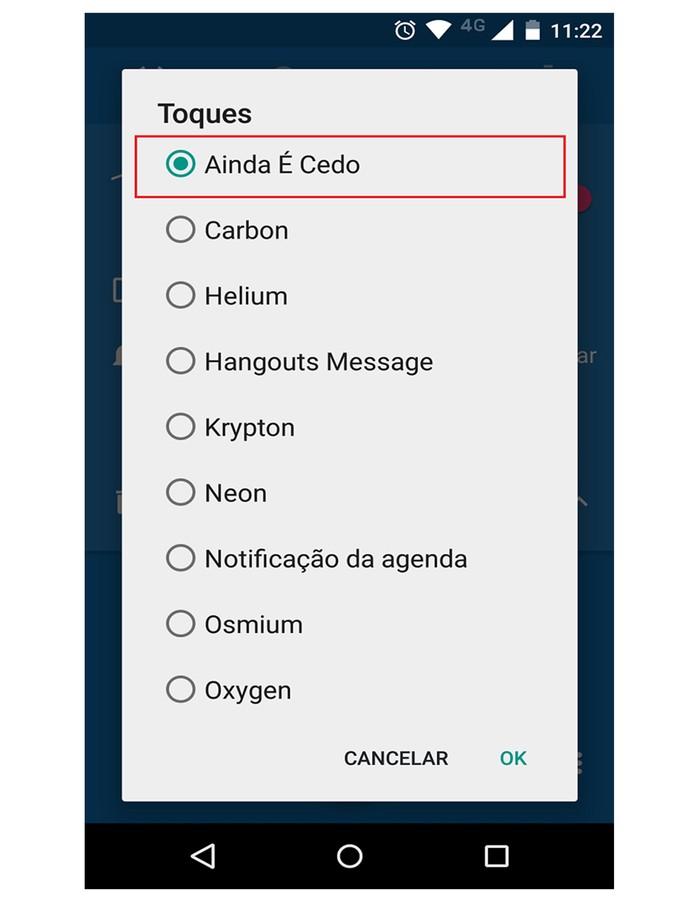 Na hora de adicionar um toque ao despertador, a canção escolhida estará nas opções  (Foto: Reprodução/Felipe Alencar)