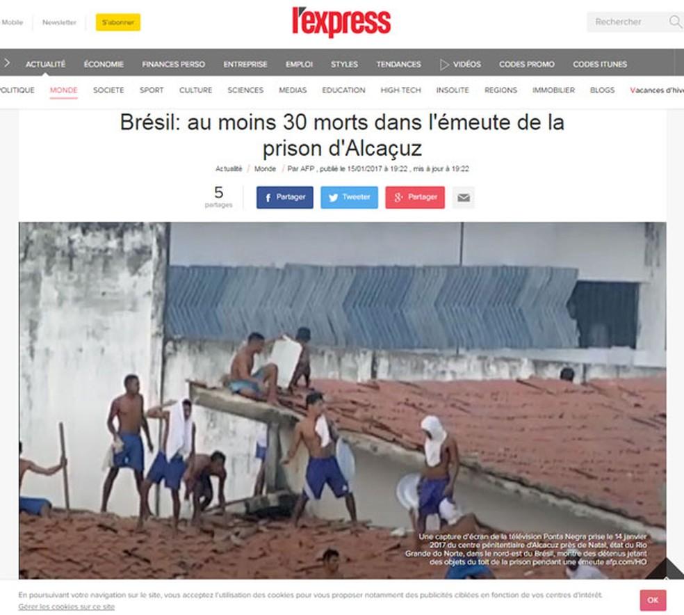 'L'Express' diz que ao menos 30 morreram em Alcaçuz (Foto: Reprodução/L'Express)