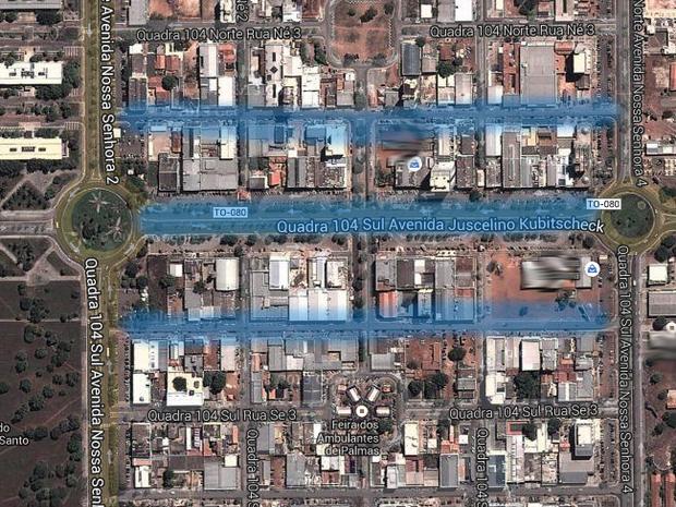 Área de estacionamento rotativo fica no centro de Palmas (Foto: Reprodução/Google)