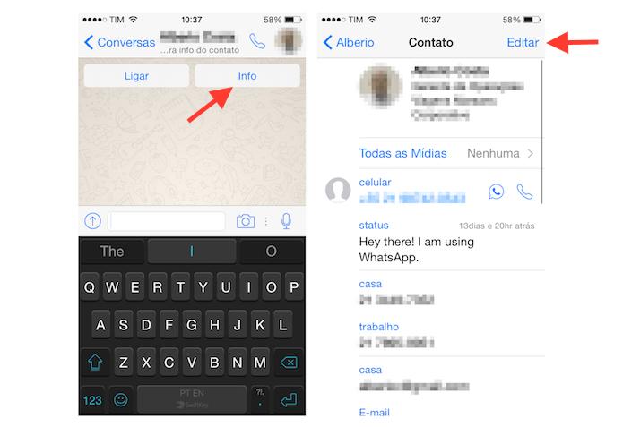 Iniciando a edição de dados de um contato do WhatsApp pelo iPhone (Foto: Reprodução/Marvin Costa)