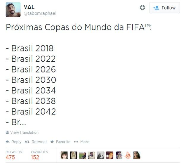 Trocamos qualquer coisa por todas as edições da Copa no país (Foto: Reprodução/Twitter)