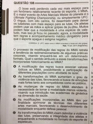 Prova do segundo dia do Enem teve questão de interpretação de texto sobre MMA (Foto: Reprodução)