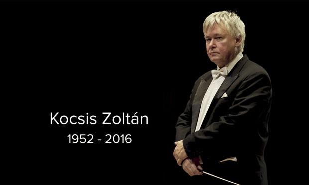 Página oficial da Filarmônica Nacional Húngara exibe imagem de Zoltán Kocsis, diretor da instituição, e anuncia a morte do regente (Foto: Reprodução/Site oficial)