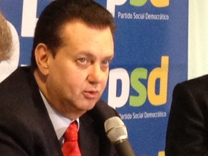 Gilberto Kassab, presidente do PSD, em evento com lideranças em Brasília (Foto: Amanda Lima/ G1)