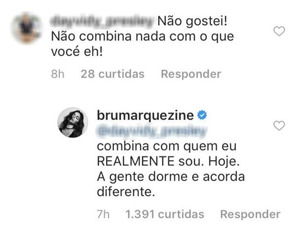 Bruna Marquezine responde internauta (Foto: Reprodução/Instagram)