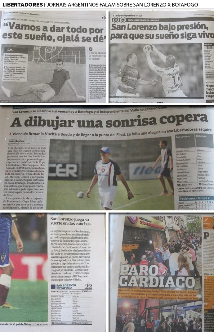 mosaico jornais san lorenzo x botafogo (Foto: Editoria de Arte)