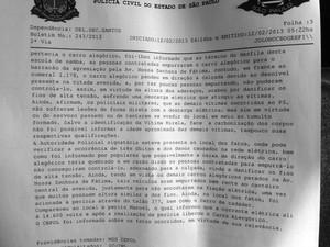 Boletim de ocorrência fala sobre as possíveis causas do acidente (Foto: Cristiane Amaral/TV Tribuna)
