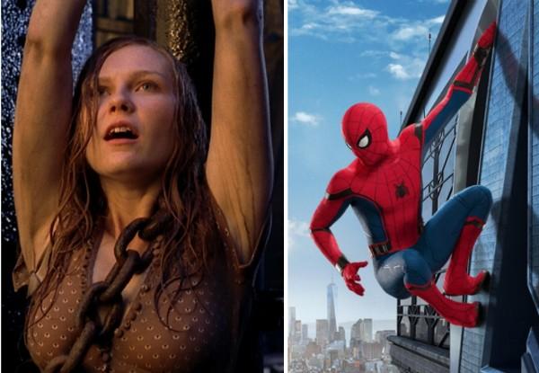 A atriz Kirsten Dunst em cena do primeiro filme do Homem-Aranha e a versão do herói vivida por Tom Holland (Foto: Reprodução)