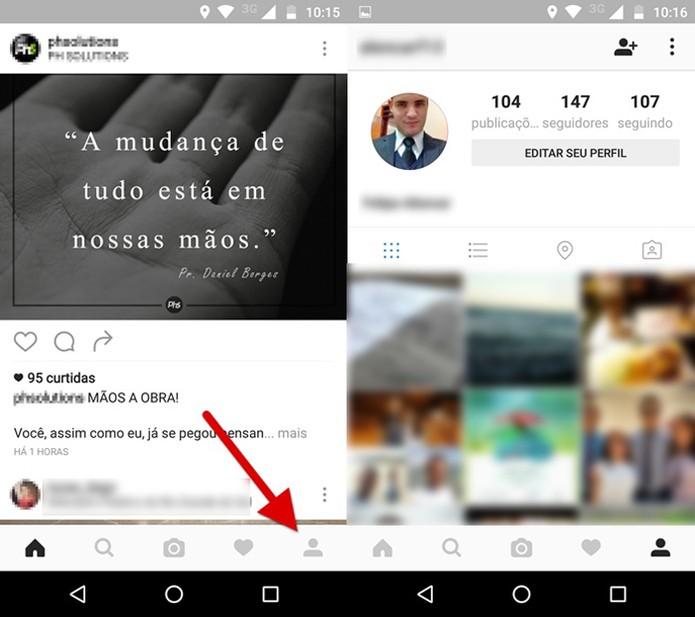Acessando o seu perfil no Instagram (Foto: Reprodução/Felipe Alencar)