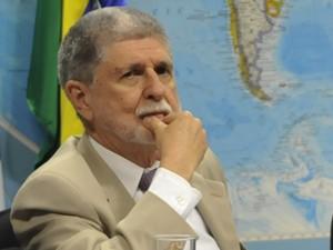 O ministro Celso Amorim (Defesa) em audiência no Senado sobre denúncias de espionagem dos EUA (Foto: José Cruz/ABr)