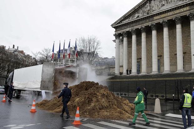 Homem protesta contra governo da França com esterco de cavalo (Foto: Jacky Naegelen/Reuters)