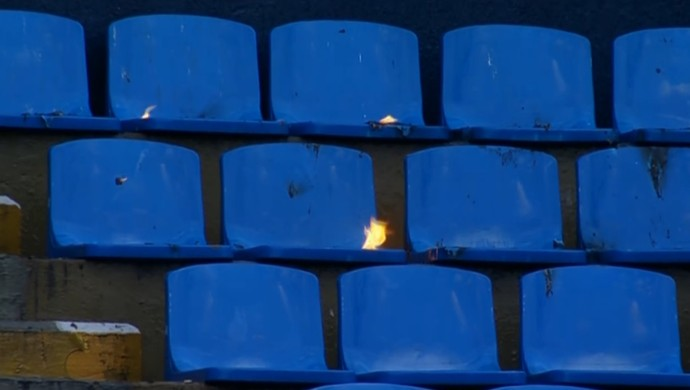 Incêndio; placar eletrônico; Arena Barueri (Foto: Reprodução SporTV)
