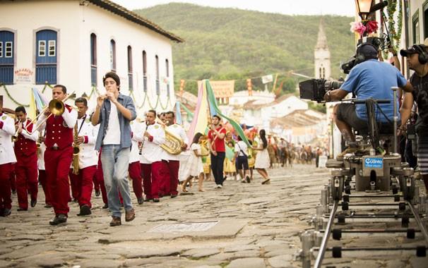 A produção viajou com cinco caminhões de equipamentos (Foto: João Miguel Jr./ Globo)
