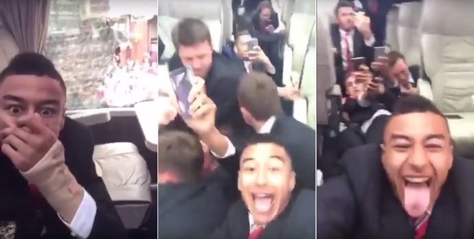 Lingard brinca durante ataque a ônibus do Manchester United (Foto: Reprodução de vídeo)