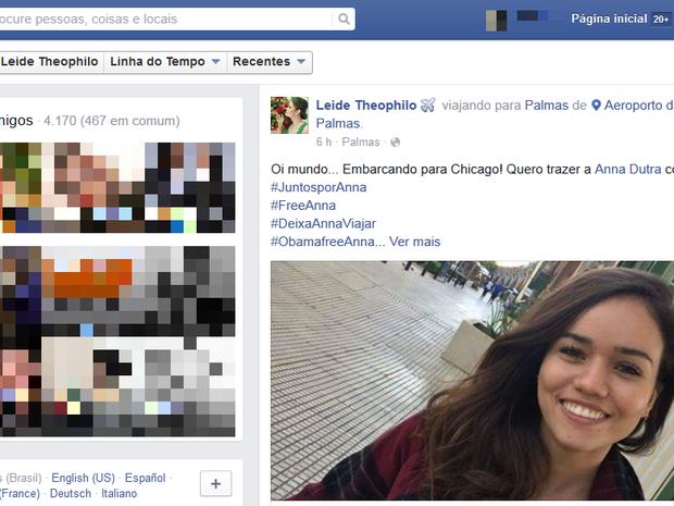 Mãe de garota retida nos EUA embarca para Chicago (Foto: Reprodução/Facebook)