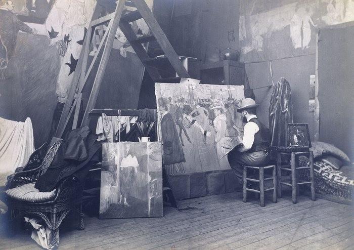 Tolouse-Lautrec pintando Au Moulin Rouge, La Danse, em 1895. (Foto: Reprodução)