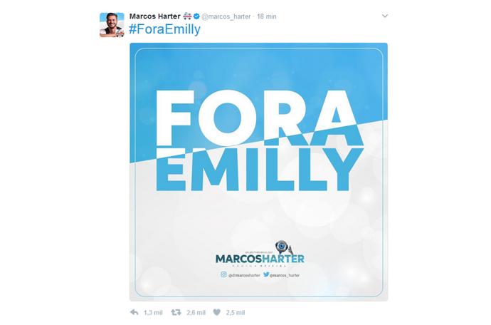 Twitter de Marcos é Fora Emilly (Foto: Twitter: @marcos_harter)