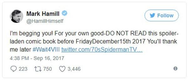 Post de Mark Hammil alertando sobre a HQ (Foto: Reprodução/Twitter)