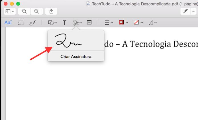 Inserindo a assinatura no documento utilizando a Pré Visualização do Yosemite (Foto: Reprodução/Marvin Costa)
