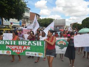 Protesto em Araci, na Bahia, em apoio a Dilma e Lula (Foto: Sintraf Araci/Divulgação)