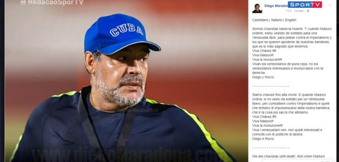 Maradona declara apoio a Maduro na Venezuela (Foto: Reprodução SporTV)