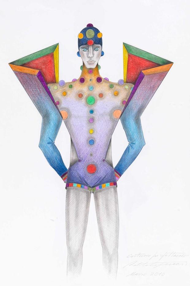 Roberto Capucci's drawing for a ballet costume, March 2010 (Foto: ROBERTO CAPUCCI)