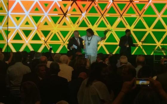 Pai Uzêda acompanha Temer em convenção (Foto: Divulgação)