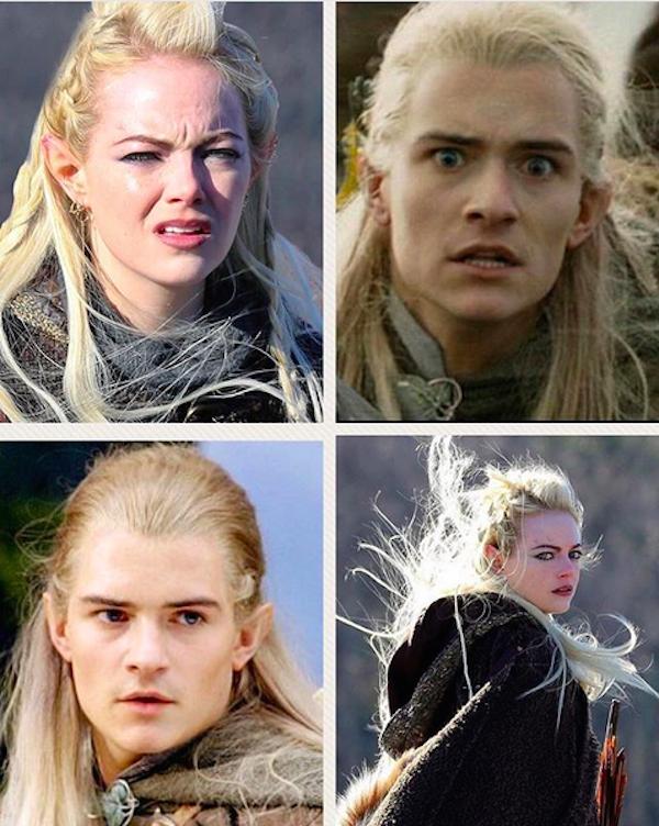 A montagem compartilhada por Orlando Bloom comparando a atriz Emma Stone no set de uma série com o elfo Legolas de O Senhor dos Anéis (Foto: Instagram)